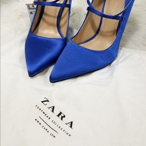 Zara royal blue satin pumps size 6